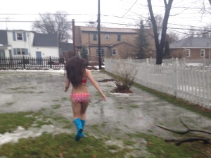 Running full speed into what looked a puddle