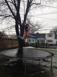Jumping on my trampoline instead!