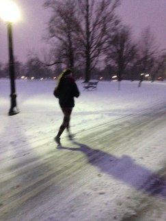 Day 2: Run 4 miles before the sun comes up (In 4-inches of snow).