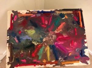 Melt crayons with blowdryer
