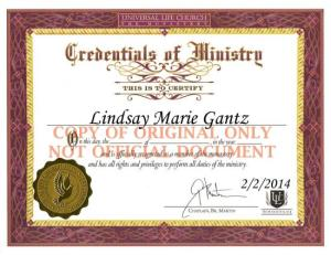 Day 33: Become an ordained minister.