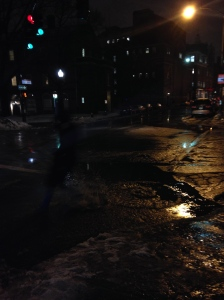 High quality picture of me running through the puddle.